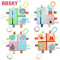 Baby's mouthable square towel with ring ring, soft ringed paper color label, baby teether soothing towel