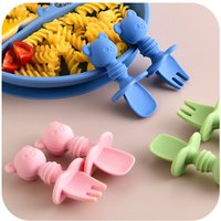 2Pcs/Set Baby Silicone Spoon Fork Set Cartoon Cute Bear Baby Learning Lunch Spoon Eating Fork
