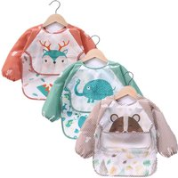 Baby Kids Toddler Long Sleeve Scarf Waterproof Art Smock Feeding Bib Apron Pocket Infant Boys Girls Burp Cloth Banana Bibs
