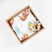 Happyflute 4 Layers Bamboo Cotton Swaddle Blanket With Baby Wooden Beaded Toy Gift Set