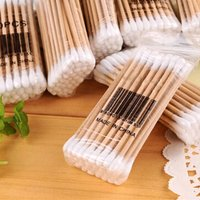 30~35pcs Double Head Cotton Swab Bamboo Cotton Swab Wood Sticks Disposable Buds Cotton For Beauty Makeup Nose Ears Cleaning