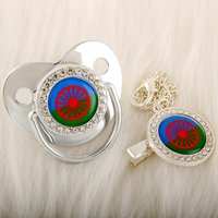 Gypsy Romany Silver Baby Pacifier With Chain Clip Romani Roma Flag Theme Newborn Baby Dummy Soother Nipple