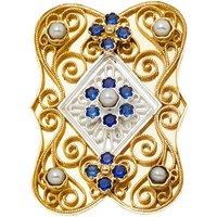 Goettgen Wechselaufsatz 925 Silber blau für grosse Trachten-Schliesse