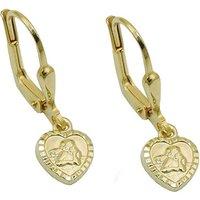 SIGO Ohrringe Brisur, kleines Herz mit Engel, glänzend, Gold 585