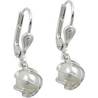 SIGO Ohrringe Brisur, Perle Imitat-weiß, Silber 925