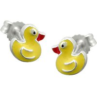 SIGO Ohrstecker, kleine gelbe Ente, Silber 925