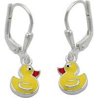 SIGO Ohrringe Brisur, kleine gelbe Ente, Silber 925