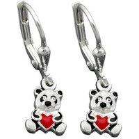 SIGO Ohrringe Brisur, kleiner Panda-Bär, Silber 925