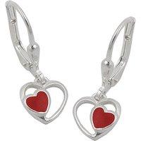 SIGO Ohrringe Brisur, rotes Herz im Herz, Silber 925