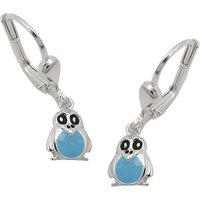 SIGO Ohrringe Brisur, Pinguin blau, Silber 925