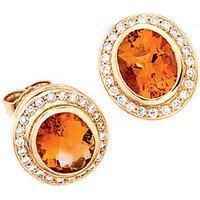 SIGO Ohrstecker oval 585 Gold Gelbgold 48 Diamanten 2 Citrine orange Ohrringe