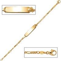 SIGO Schildband Auto 333 Gold Gelbgold 14 cm Gravur ID Armband Karabiner