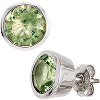 SIGO Ohrstecker rund 925 Sterling Silber rhodiniert 2 Zirkonia grün Ohrringe