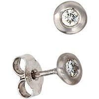 SIGO Ohrstecker 585 Gold Weißgold matt mattiert 2 Diamanten Brillanten Ohrringe