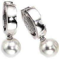 SIGO Creolen 925 Silber 2 synthetische Perlen Ohrringe Perlenohrringe
