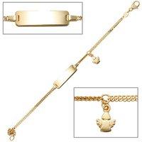 SIGO Schildband Engel 585 Gold Gelbgold 14 cm Gravur ID Armband Schutzengel Karabiner