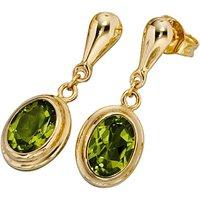 SIGO Ohrhänger oval 585 Gold Gelbgold 2 Peridote grün Ohrstecker Ohrringe