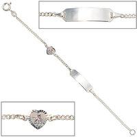 SIGO Schildband Schutzengel 925 Sterling Silber 14 cm Gravur ID Armband Federring