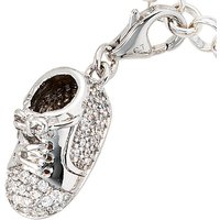 SIGO Einhänger Charm Babyschuh 925 Sterling Silber rhodiniert mit Zirkonia