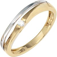 SIGO Damen Ring 333 Gold Gelbgold Weißgold mattiert 1 Zirkonia Goldring