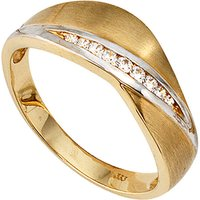 SIGO Damen Ring 333 Gold Gelbgold bicolor mattiert 9 Zirkonia Goldring