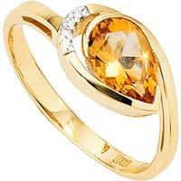 SIGO Damen Ring 585 Gold Gelbgold bicolor 1 Citrin orange 4 Diamanten Brillanten