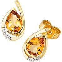 SIGO Ohrstecker Tropfen 585 Gold Gelbgold 6 Diamanten 2 Citrine orange Ohrringe