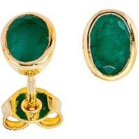 SIGO Ohrstecker oval 585 Gold Gelbgold 2 Smaragde grün Ohrringe Goldohrstecker