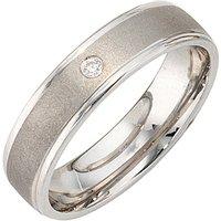 SIGO Partner Ring 925 Sterling Silber rhodiniert mattiert 1 Zirkonia Silberring