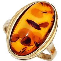 SIGO Damen Ring 375 Gold Gelbgold 1 Bernstein orange Bernsteinring Goldring