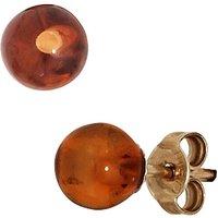 SIGO Ohrstecker 375 Gold Gelbgold 2 Bernsteine orange Ohrringe Bernsteinohrringe
