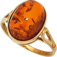 SIGO Damen Ring 375 Gold Gelbgold 1 Bernstein orange Bernsteinring Goldring