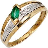 SIGO Damen Ring 585 Gold Gelbgold bicolor 1 Smaragd grün2 Diamanten 0,01ct. Goldring