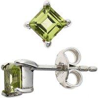SIGO Ohrstecker quadratisch 925 Sterling Silber rhodiniert 2 Peridote grün Ohrringe