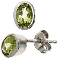 SIGO Ohrstecker oval 925 Sterling Silber rhodiniert 2 Peridote grün Ohrringe