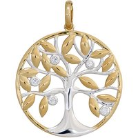 SIGO Anhänger Baum 585 Gold Gelbgold bicolor 5 Diamanten Brillanten Goldanhänger - Angebote