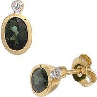 SIGO Ohrstecker oval 585 Gold Gelbgold 2 Turmaline grün 2 Diamanten Ohrringe