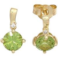 SIGO Ohrstecker 585 Gold Gelbgold 2 Peridote grün 2 Diamanten Brillanten Ohrringe