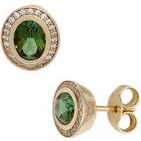 SIGO Ohrstecker oval 585 Gold Gelbgold 2 Turmaline grün 48 Diamanten Brillanten