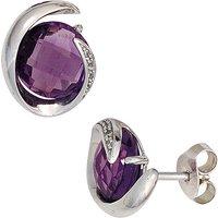 SIGO Ohrstecker 585 Weißgold 2 Amethyste lila violett 10 Diamanten Ohrringe