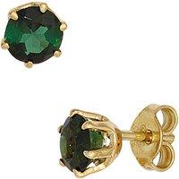 SIGO Ohrstecker rund 585 Gold Gelbgold 2 Turmaline grün Ohrringe Goldohrstecker
