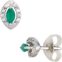 SIGO Ohrstecker oval 333 Weißgold 2 Smaragde grün 12 Diamanten Brillanten Ohrringe