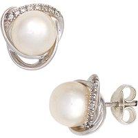 SIGO Ohrstecker 585 Weißgold 2 Süßwasser Perlen 16 Diamanten Brillanten Ohrringe