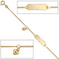 SIGO Schildband Herz 585 Gold Gelbgold 14 cm Gravur ID Armband Federring