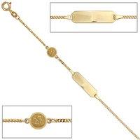 SIGO Schildband Engel 585 Gold Gelbgold mattiert 14 cm Gravur ID Armband Federring