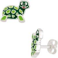 SIGO Kinder Ohrstecker Schildkröte grün 925 Sterling Silber Ohrringe Kinderohrringe