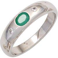 SIGO Damen Ring 925 Sterling Silber rhodiniert 1 Smaragd grün 2 Zirkonia Silberring