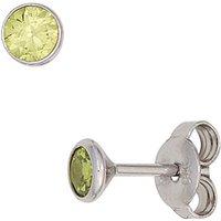 SIGO Ohrstecker rund 925 Sterling Silber rhodiniert 2 Zirkonia hellgrün grün Ohrringe