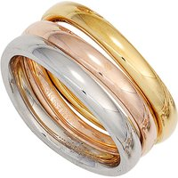 SIGO Damen Ring 3-teilig Edelstahl tricolor dreifarbig beschichtet