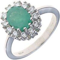 SIGO Damen Ring 925 Sterling Silber rhodiniert 1 Smaragd und Zirkonia Silberring
